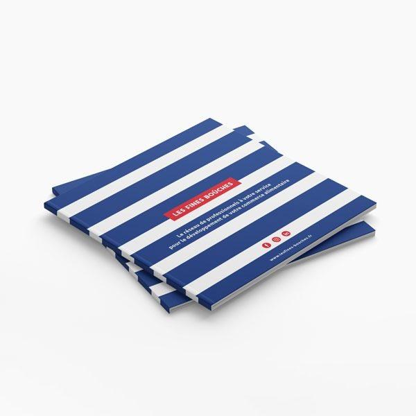Plaquette commerciale couverture rayée bleu blanc Les Fines bouches